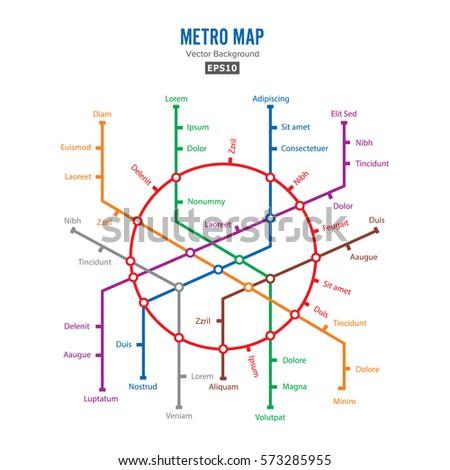 Metro Map Vector Fictitious City Public Stock Vector - Us metro map