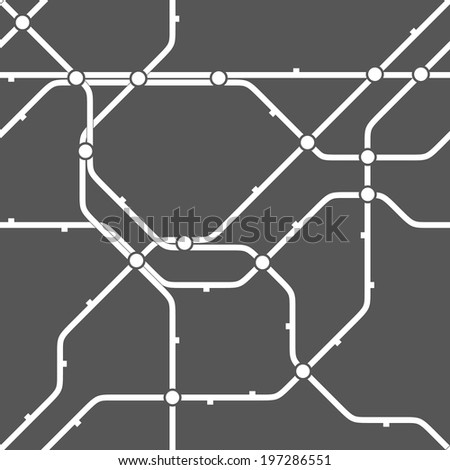 Metro scheme, railway transport or city bus map texture. Abstract vector background. Seamless monochrome geometric pattern. - stock vector