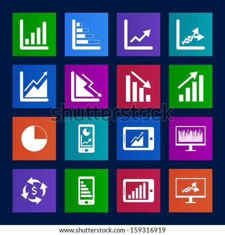 Metro style collection of Business Graph icon set - stock vector