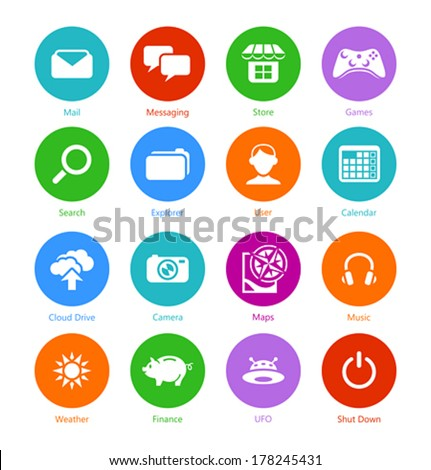 Metro-style flat round system icons, custom versions - stock vector