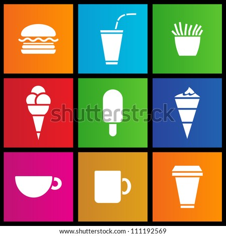 metro style Ice Cream, coffee and Fast Food - stock vector