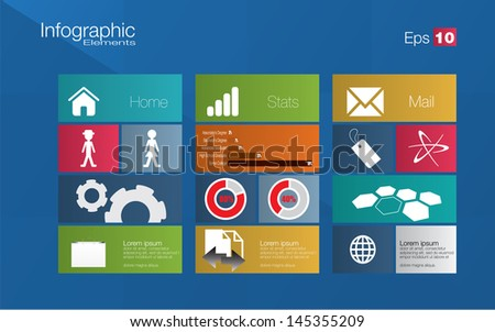 Metro style infographic concept in editable vector format - stock vector