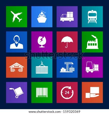 Metro style Logistics icons vector EPS10 - stock vector