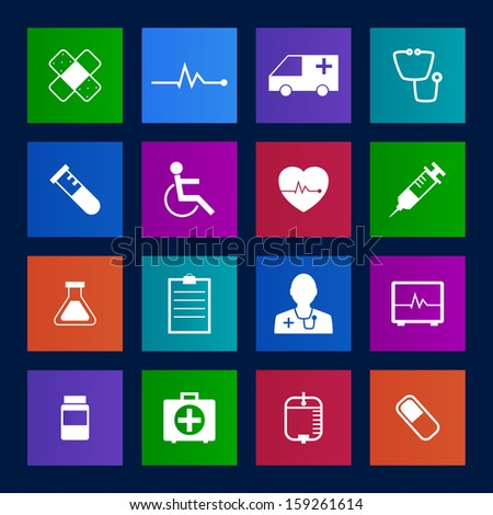 Metro style Medical Icons Collection Vector icon set. EPS 10