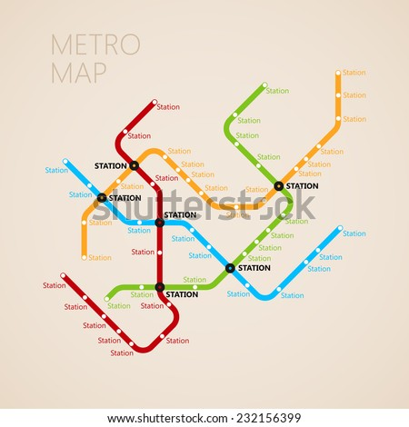 metro (subway) map design template. transportation concept  - stock vector