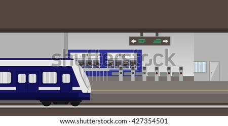 metro subway station with train , ticket vending machine and ticket gate, vector - stock vector