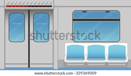 Metro train interior. Vector illustration. EPS 10, opacity - stock vector