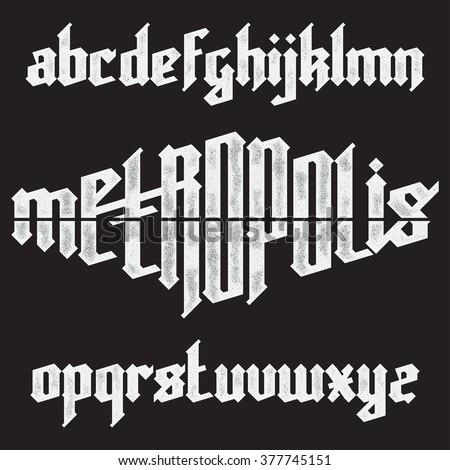 Metropolis modern custom gothic alphabet font. Trendy blue color vector font set  - stock vector