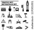 metropolis set, traffic icon set - stock vector