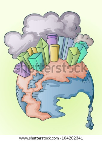 metropolis under pollution on melting globe - stock vector