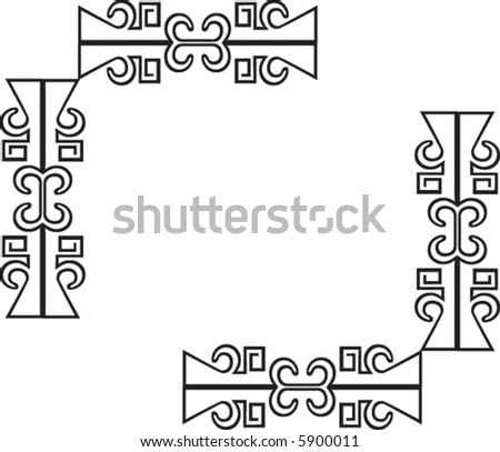 Mexican Aztec Corner Border Art - stock vector