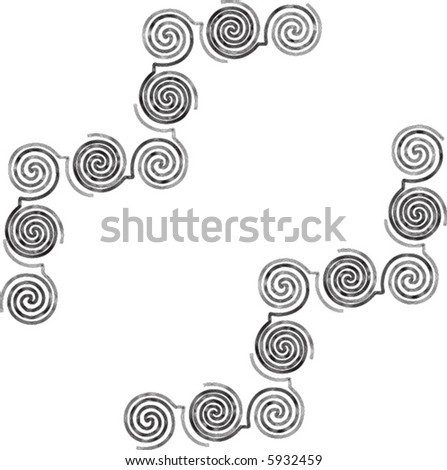 Mexican Aztec Spiral Corner Art - stock vector