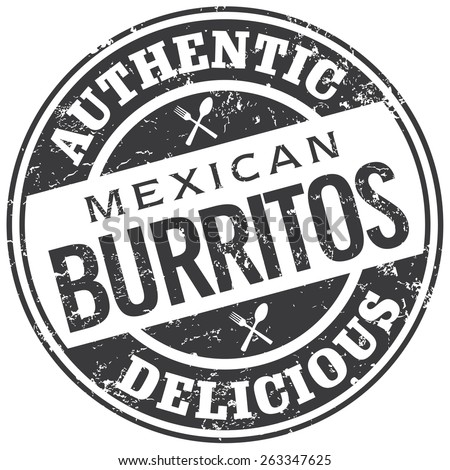 mexican burritos stamp - stock vector