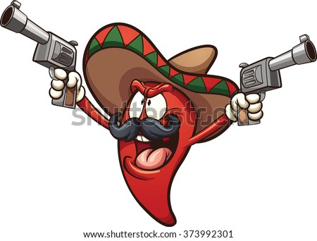 Mexican chili pepper holding two guns. Vector clip art illustration with simple gradients. All in a single layer. - stock vector