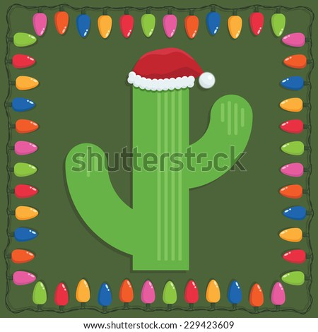 mexican christmas decoration with cactus and frame of lights - stock vector