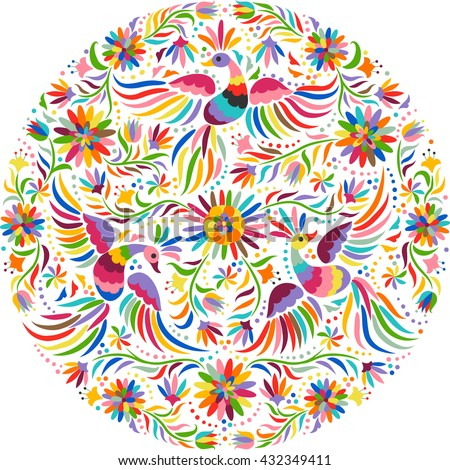Mexican colorful and ornate ethnic round pattern. Birds and flowers on the light background.