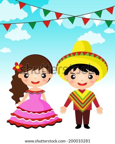 Mexican couple traditional costume cartoon boy girl. - stock vector