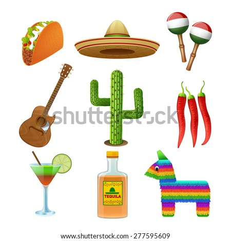 Mexican culture flat icons set with tequila sombrero and hot chili pepper taco abstract isolated vector illustration - stock vector