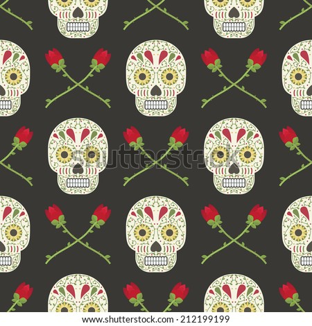 mexican day of the dead seamless pattern with skulls and roses, with clipping path - stock vector