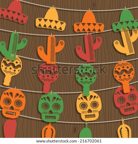mexican decoration with novelty paper bunting on wood background, with transparencies and clipping path - stock vector