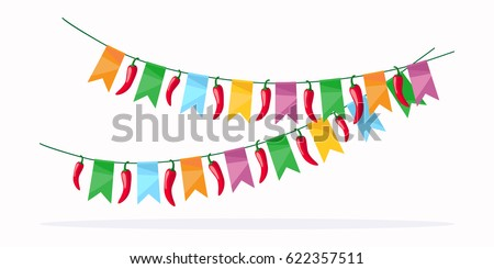 mexican fiesta celebration detail colorful garland stock vector rh shutterstock com