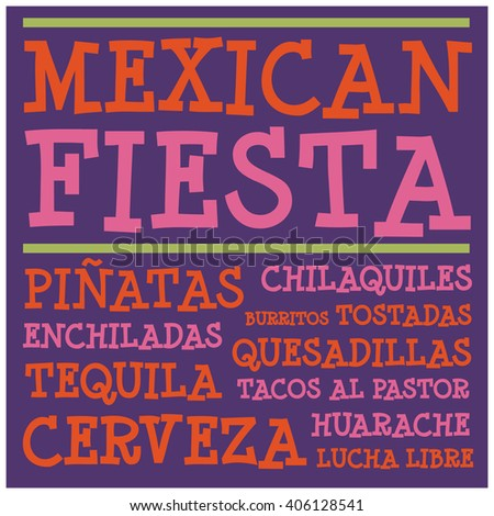 Mexican Fiesta (Vector Design for Cards or Posters)