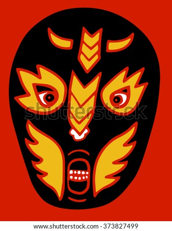 Mexican fighter mask - stock vector