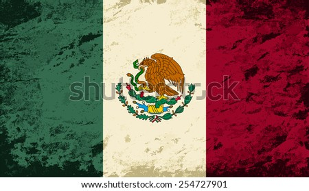 Mexican flag Grunge background. Vector illustration Eps 8. - stock vector