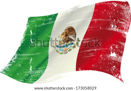 Mexican flag grunge. Mexican flag with a texture in the win - stock vector