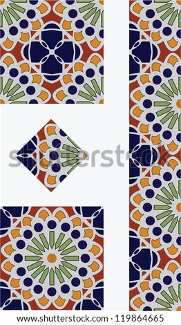 Mexican Flower Talavera Style Tile Vector Design with 1/4, 1/2 and full tile pieces for easy implementation into your design. - stock vector