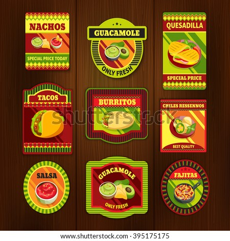 Mexican food bright colorful emblems of national dishes with meat spices on wooden background isolated vector illustration  - stock vector