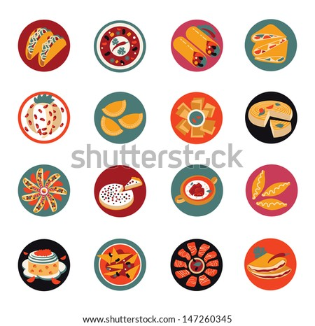 Mexican food, icons. - stock vector
