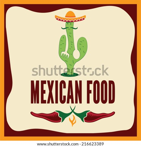mexican food illustration - stock vector