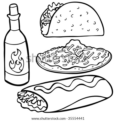 Mexican Food Items Line Art - stock vector