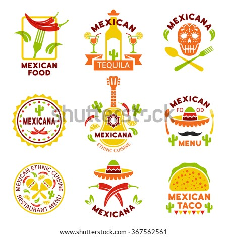 Mexican food logo, labels, emblems and badges, set of vector templates isolated on white background. Mexican ethnic cuisine vector illustration. Restaurant menu design elements  - stock vector