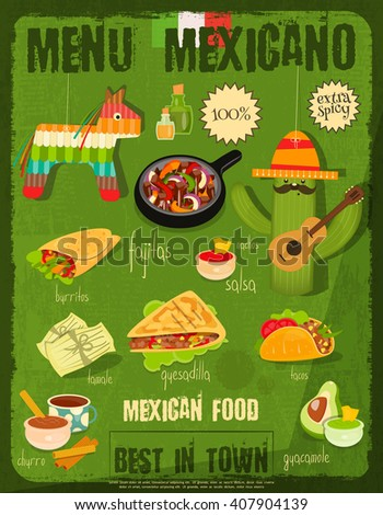 Mexican Food Menu Card with Traditional Spicy Meal in Retro Vintage Style. Vector Illustration. - stock vector