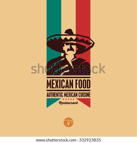 Mexican food, Mexican cuisine restaurant logo, Mexican man icon - stock vector