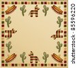 mexican frame with motifs and space for text - stock photo