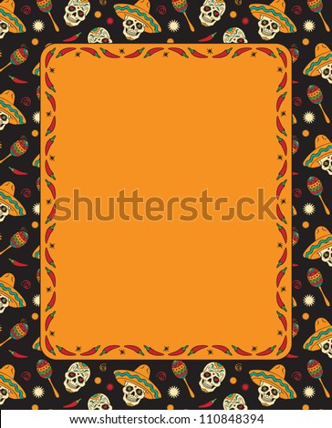 Mexican frame with skulls. Vector version.