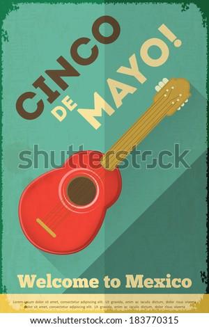 Mexican Guitar. Posters in Retro Style. Cinco de Mayo. Vector Illustration. - stock vector