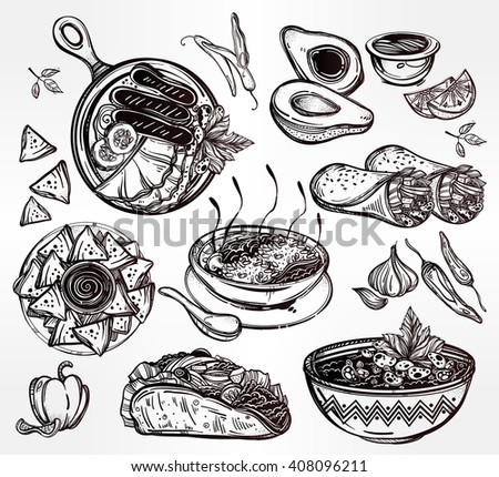 Mexican hand drawn food set menu. International latin food vector illustrations. Vector menu sketch. Hispanic cuisine menu. Hand drawn international food menu. Template for restaurant or take out. - stock vector
