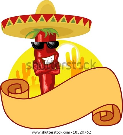 Mexican hot chili label - stock vector