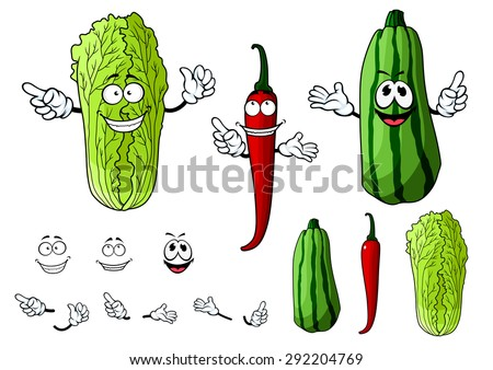 Mexican hot red chili pepper, chinese cabbage or napa and striped zucchini vegetables cartoon characters with cheerful faces for agriculture or healthy vegetarian food design - stock vector