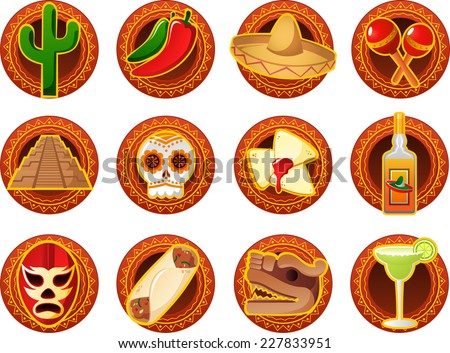 Mexican icon set vector illustrations - stock vector