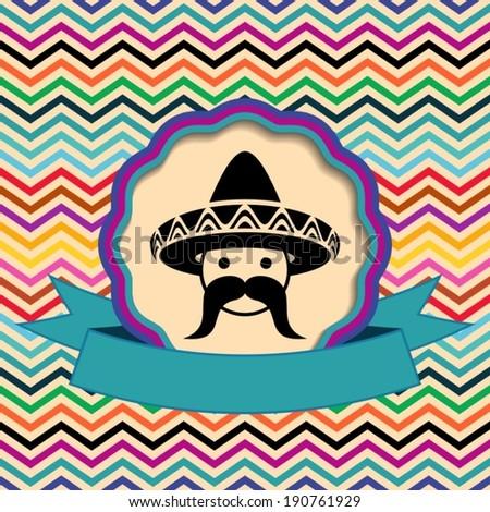 Mexican in sombrero label on ethnic zigzag background - stock vector