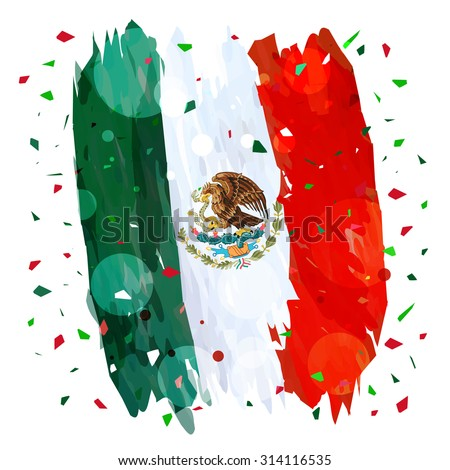 Mexican Independence day Flag design for mexico. - stock vector