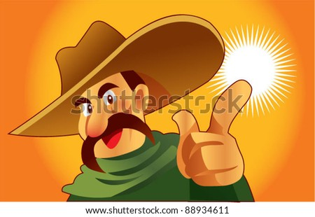 Mexican man pointing - stock vector