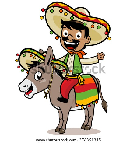 Mexican man riding a donkey. - stock vector