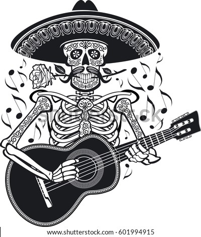 mexican mariachi skeleton wearing sombrero and playing guitar