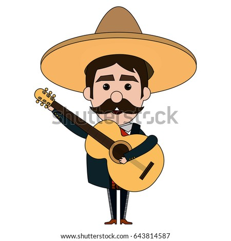 Mexican mariachi with guitar avatar character